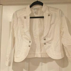 WHBM White Cropped 3/4 Sleeve Jacket Size 8
